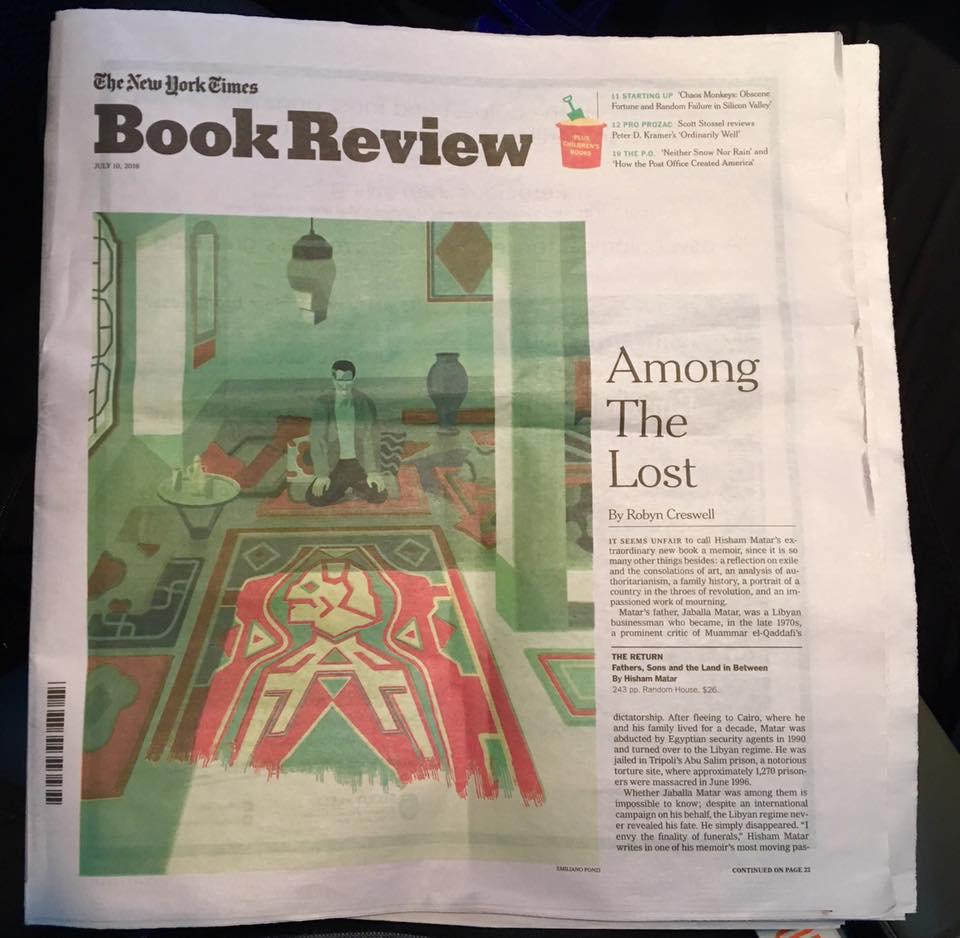 Emiliano Ponzi The New York Times Book review cover HISHAM MATAR