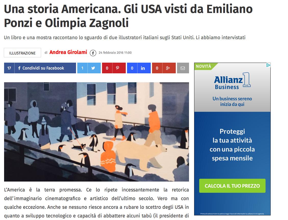 Una storia americana Emiliano Ponzi Olimpia zagnoli istituto italiano di cultura new York