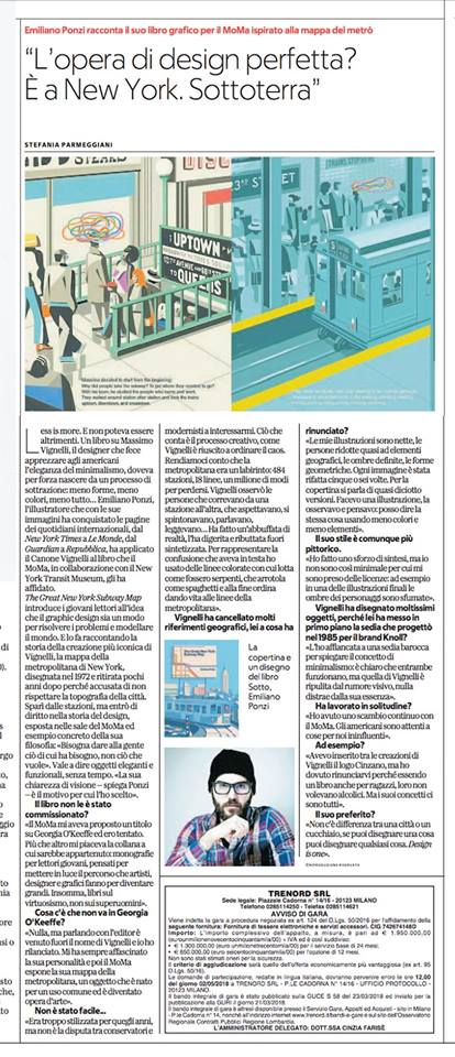 la Repubblica intervista the great new york subway map, Emiliano Ponzi