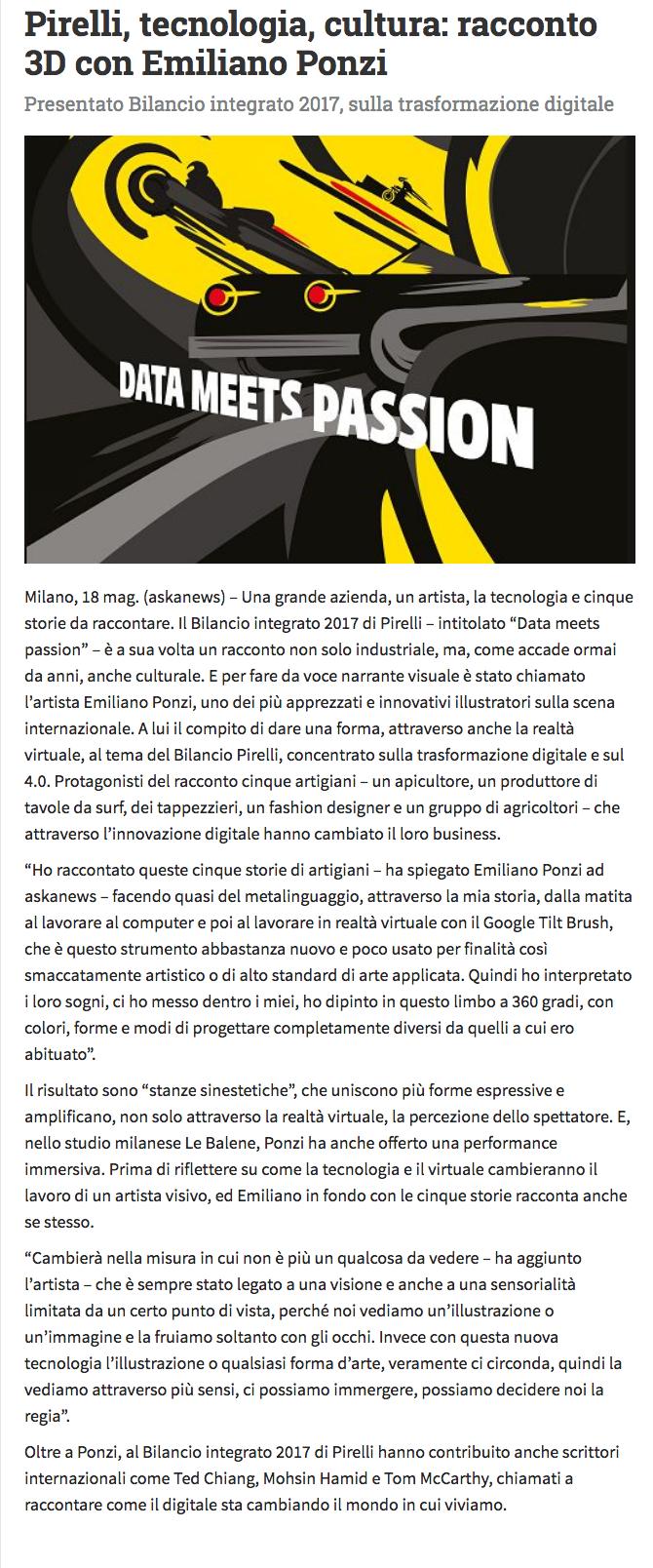 Pirelli, Aska News Emiliano Ponzi