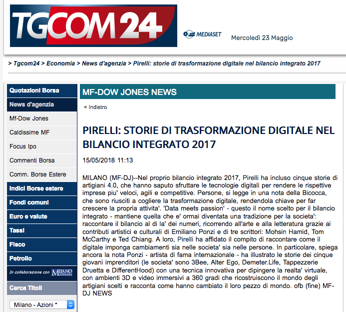 Pirelli Tgcom24 Emiliano Ponzi